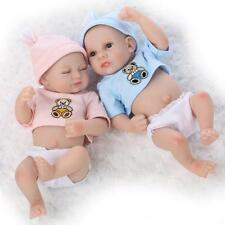 "10"" Preemie Bebes Reborn Twin Boy And Girl Doll Silicone Lifelike Baby Dolls Toy"