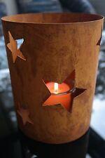 Säule H.21 Laterne Sterne Metall-Rost Windlicht Tischleuchter Kerzenständer