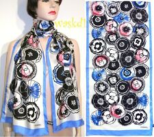 CHANEL blue border Camellias CC LOGO centers Silk Twill LONG scarf NEW Authentic