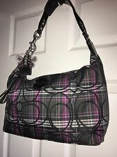Authentic Coach Poppy Tartan Plaid Glitter Shoulder Bag