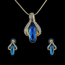 Fashion Jewellery Set Crystal Blue Sapphire Gem Pendant Necklace +Earrings Gifts