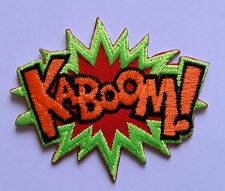 "NOVELTY CARTOON SUPERHERO ""ACTION BURST"" SEW ON / IRON ON PATCH:- KABOOM!"