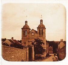 Médan Yvelines église France Plaque stéréo Positif Vintage 1921