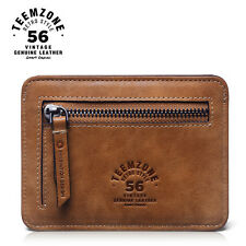 Mens Womens Real Leather Mini Wallet ID Credit Cards Holder Organizer Coin Purse