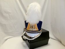 Demoulin Purple & Gold Band Marching Hat WITH White Long Plume & Case Medium