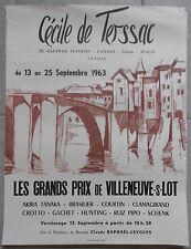 AFFICHE EXPO Cécile de Terssac Cannes VILLENEUVE SUR LOT Tanaka BRASILIER 1963