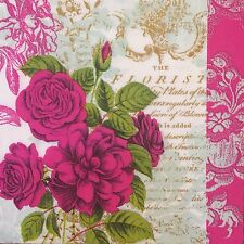 2 single paper napkins (cocktail size) for decoupage scrapbooking crafts Flowers