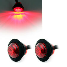 2x Red Mini Mount LED Bullet Lamp Truck Trailer Round Side Marker Lorry Caravan