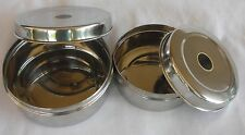 HANDMADE INDIA STAINLESS STEEL NESTING  SPICE BEAD LUNCH SNACK BOX : SET OF 2