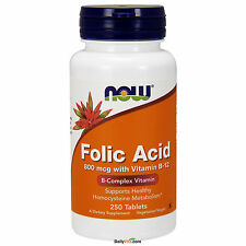 NOW Foods Folic Acid 800mcg + B-12 25mcg Vegetarian 250 Tabs, fRESH, Made In USA