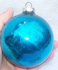 VINTAGE JUMBO! BLUE MERCURY GLASS CHRISTMAS ORNAMENT