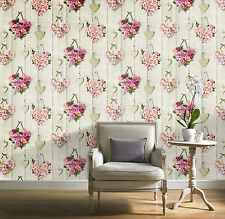 New Grandeco - Vintage Hearts - Wood & Floral - Pink - Luxury Wallpaper A14503