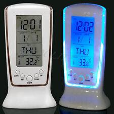 Digital Blue Backlight LED Display Table Alarm Clock Snooze Thermometer Calendar