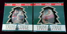 2 COCA COLA  1990 CHRISTMAS ORNAMENTS with SANTA CLAUS MIB Free Shipping