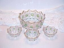 EAPG Clear Green Stain Bull's Eye & Daisies Mater Berry and Individual Bowl Set