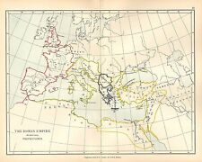 ANTIQUE MAP ~ ROMAN EMPIRE DIVIDED INTO PREFECTURES GAUL ITALY EAST GERMANY