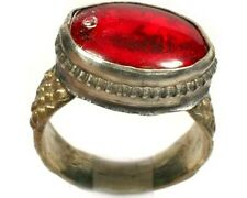 "Antique 18thC Russian Crimean Tatars Ornate Silver Ring Ruby Red Glass ""Gem"" Sz8"