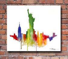 New York City Skyline Statue of Liberty Painting 2 Art Print by Artist DJ Rogers
