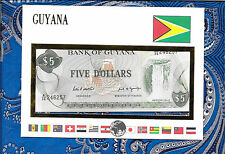 E Banknotes of All Nations Guyana 1989  5 Dollars P22e sign 7  UNC A/36 246257