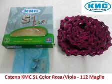 Catena KMC S1 Color 1 Velocità 112 Maglie Viola per bici 20-24-26 Tipo Graziella