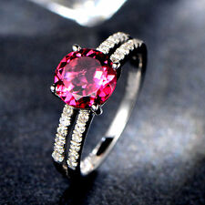 Solid 14k White Gold Natural 7mm Round Pink Tourmaline Diamond Engagement Ring