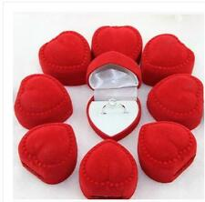 10Pcs Love Heart Shaped Ring Box Gift Velvet Retail Jewelry Package Red EW
