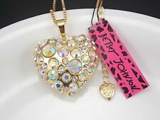 Betsey Johnson Cute inlay AB Crystal Heart Pendant Necklace # F270
