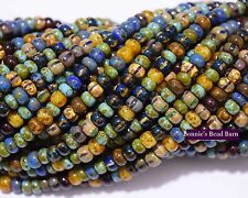 6/0 Czech Aged Caribean Blue Picasso Seed Bead Mix -Buy 2+ Free Shipping