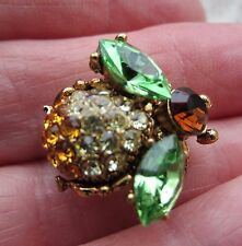 VINTAGE STYLE ART DECO CICADA BUG BEE GREEN CRYSTAL WINGS GOLDTONE BROOCH PIN