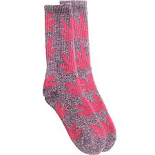 $12.00 HUFAC34009PPH HUF Plantlife Crew Socks (purple heather / pink)