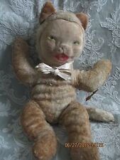 "40s VTG GUND DREAMIE CAT KITTY STUFFED TOY DOLL~J SWEDLIN~16""~MOLDED FABRIC FACE"