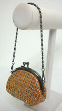 Vintage Evening Purse Small Lipstick/Coin Lined Antique Silver Tone Chain Strap