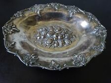 1870 ANTIQUE CENTERPIECE OVAL BOWL WITH FRUITS&LEAVES BANCROFT ,REDFIELD & RICE