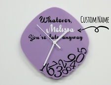 Purple Custom Name - Whatever, you're late anyway - Wall Clock