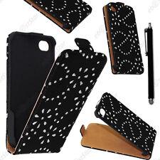 Housse Coque Etui en PU cuir à rabat avec STRASS Noir Apple iPhone 4S 4 + Stylet