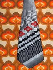 A268✪ original 70er Jahre Kult Retro Krawatte Hippie Muster schwarz weiß rot