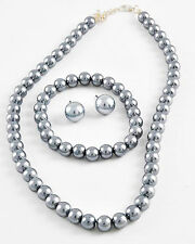"3pc Bridal Classic16-18"" 8mm Faux Gray Grey Pearl Necklace Bracelet Earring"