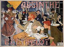 ADVERT ABSINTHE BERTHELOT BRUSSELS BELGIUM CAFE VINTAGE POSTER PRINT BB1642A