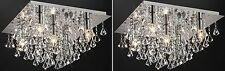 2x Jewel Chandelier Flush Ceiling Lights Fitting Genuine Glass Crystal Pendant