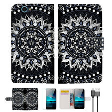 Black AZTEC TRIBAL Wallet Case Cover For Telstra 4GX HD-- A005