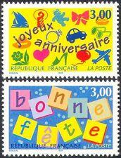 FRANCIA 1997 Saluti/Vacanze/orsacchiotto/Auto/Cuore/Barca/piano 2v Set (n32948)