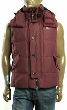 $295 New Mens Lacoste Cherry Red Quilted Hooded Puffer Vest Jacket 54 L