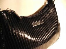 "XOXO black vinyl snake skin pattern small hobo-style purse.  8"" zip close top."