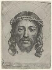The Face of Christ by Claude Mellan 1649, Jesus Crown of Thorns 7x5 Inch Print