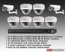 Hikvision 8 Cam 4MP HD IP 6 Dome/2 Bullet EXIR with 16ch NVR 5TB Bundle System