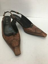Women's PRADA Made In Italy Brown Leather Pumps Low Heel Shoes Size EU 40 US 9.5