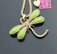 H555#2   Betsey Johnson Crystal Enamel Lovely Dragonfly Pendant Sweater Necklace
