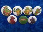 "1"" pinback button set inspired by "" Teenage Mutant Ninja Turtles"" 80's cartoon"