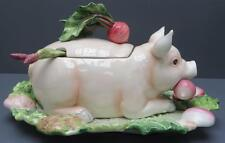 Fitz & Floyd French Market Pig Soup Tureen Ladle Underplate Serving Tray 4.5qt