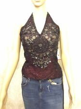 NEW AFTERSHOCK ladies Top, Sleeveless Halter Strap, Black Embellished S/M/L/XL